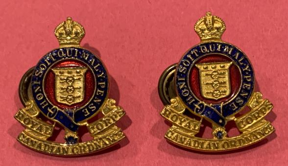 RCOC Gilt and Enamel Officer Collar Badge Pair